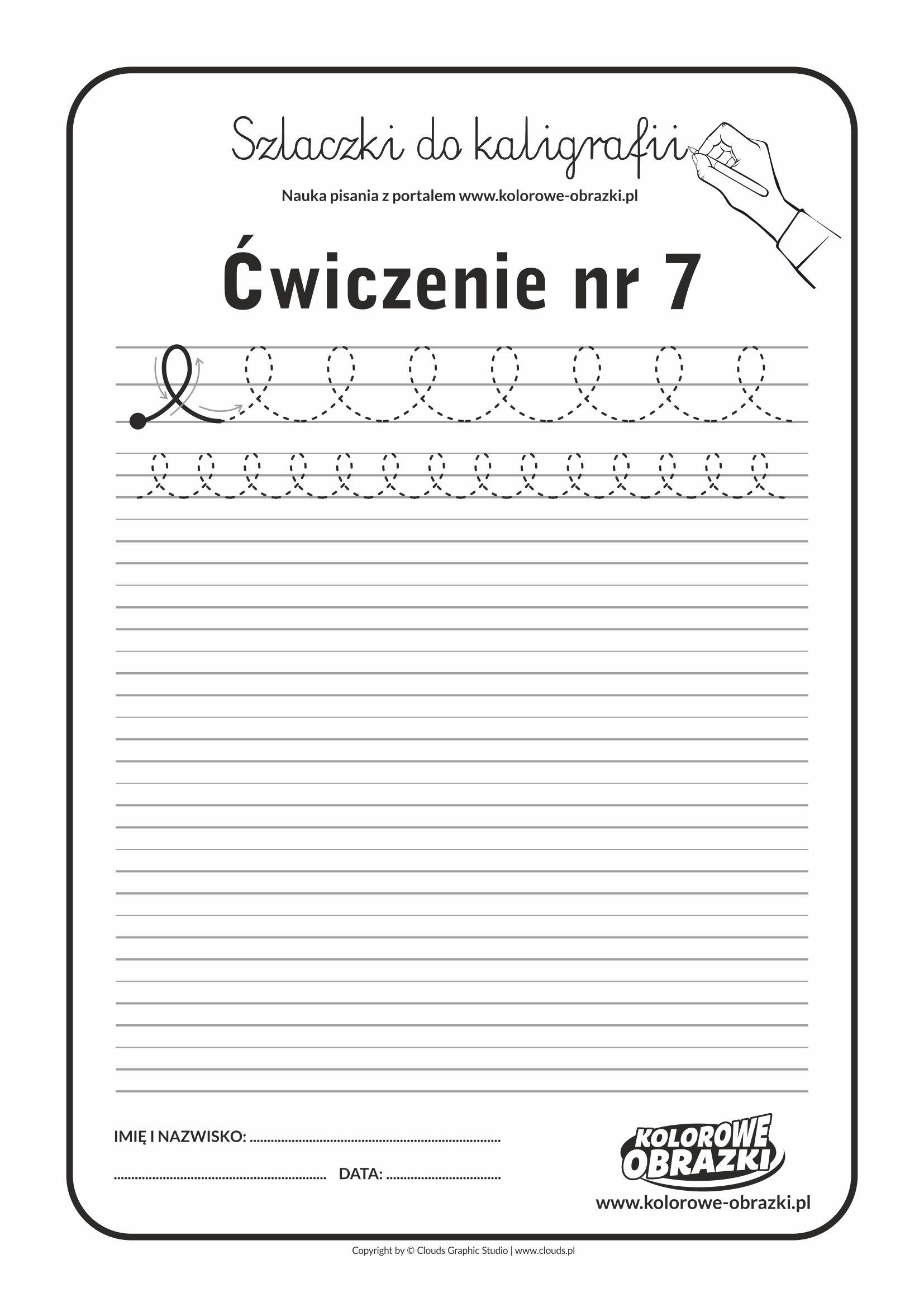 Kaligrafia dla dzieci - Ćwiczenia kaligraficzne / Szlaczki / Ćwiczenie nr 7