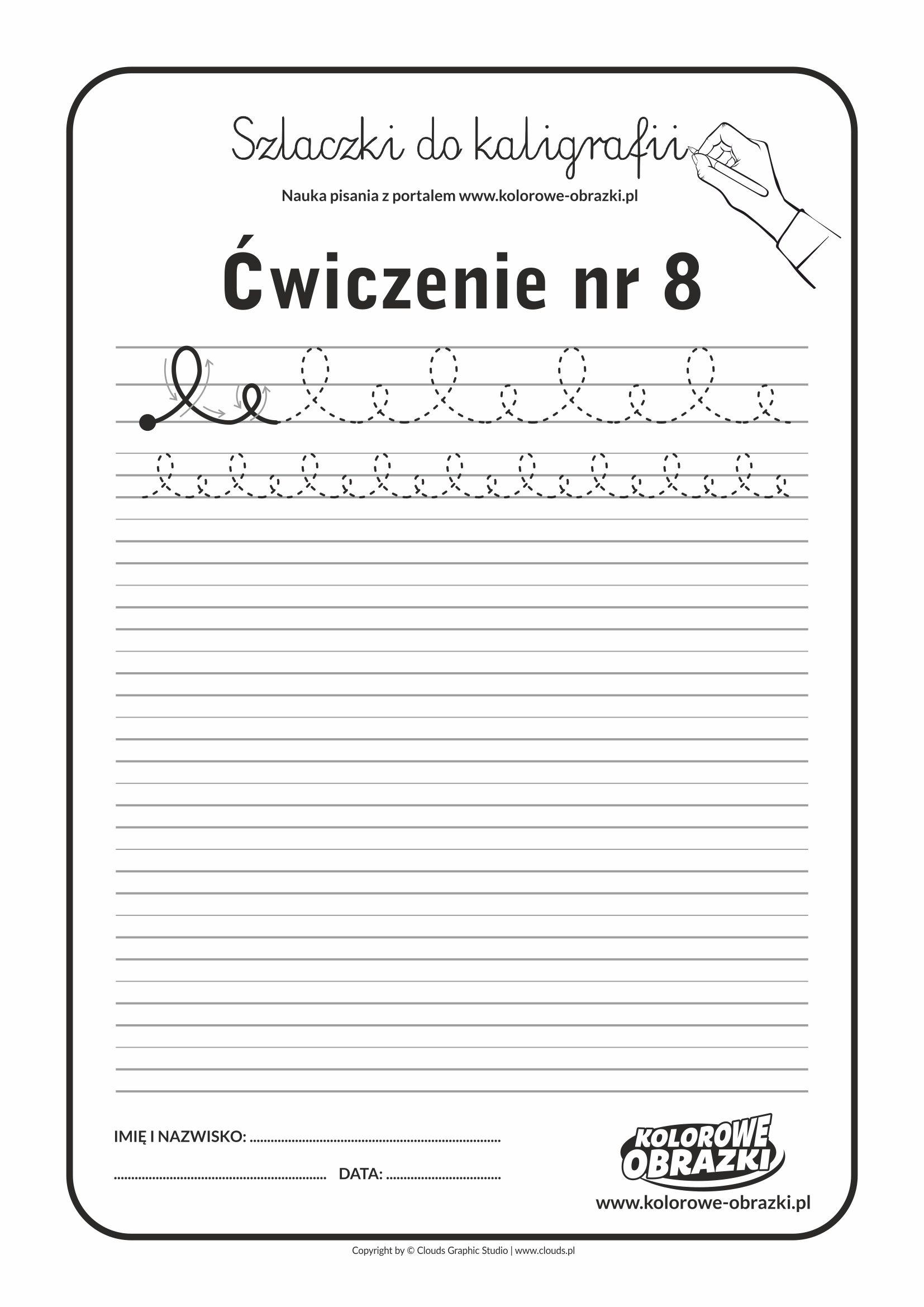 Kaligrafia dla dzieci - Ćwiczenia kaligraficzne / Szlaczki / Ćwiczenie nr 8