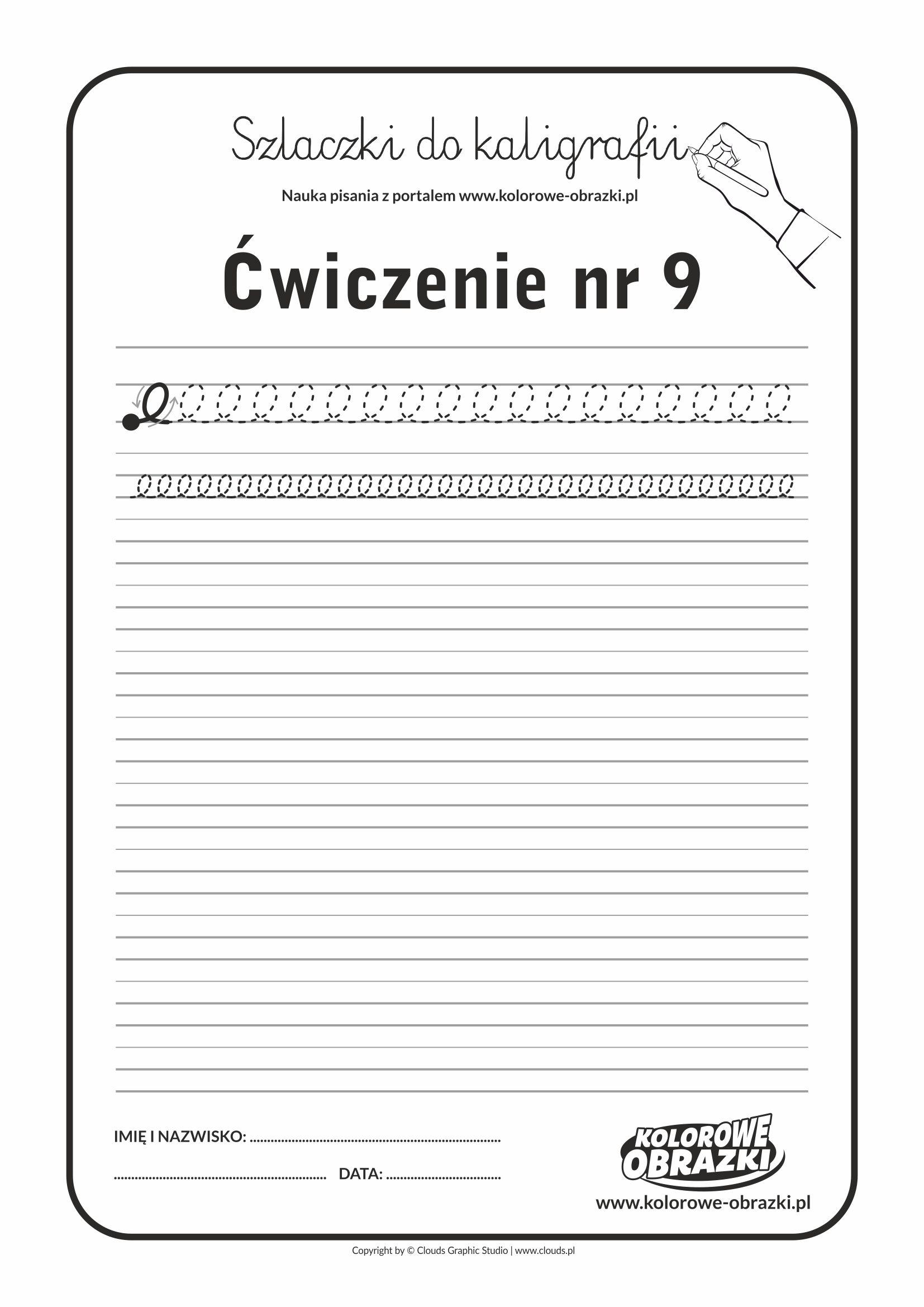 Kaligrafia dla dzieci - Ćwiczenia kaligraficzne / Szlaczki / Ćwiczenie nr 9