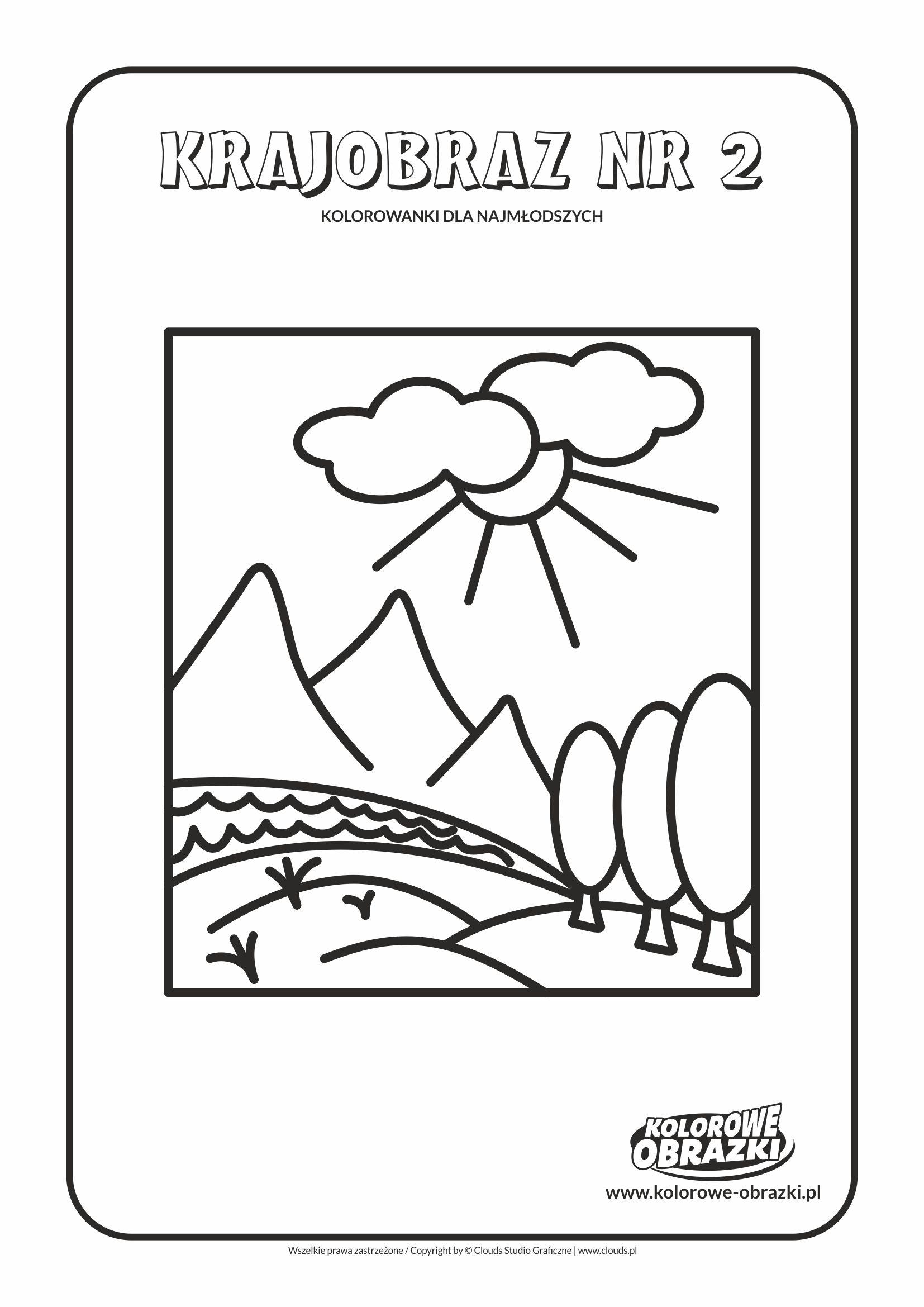 Proste kolorowanki dla najmłodszych - Krajobrazy / Krajobraz nr 2. Kolorowanka z krajobrazem