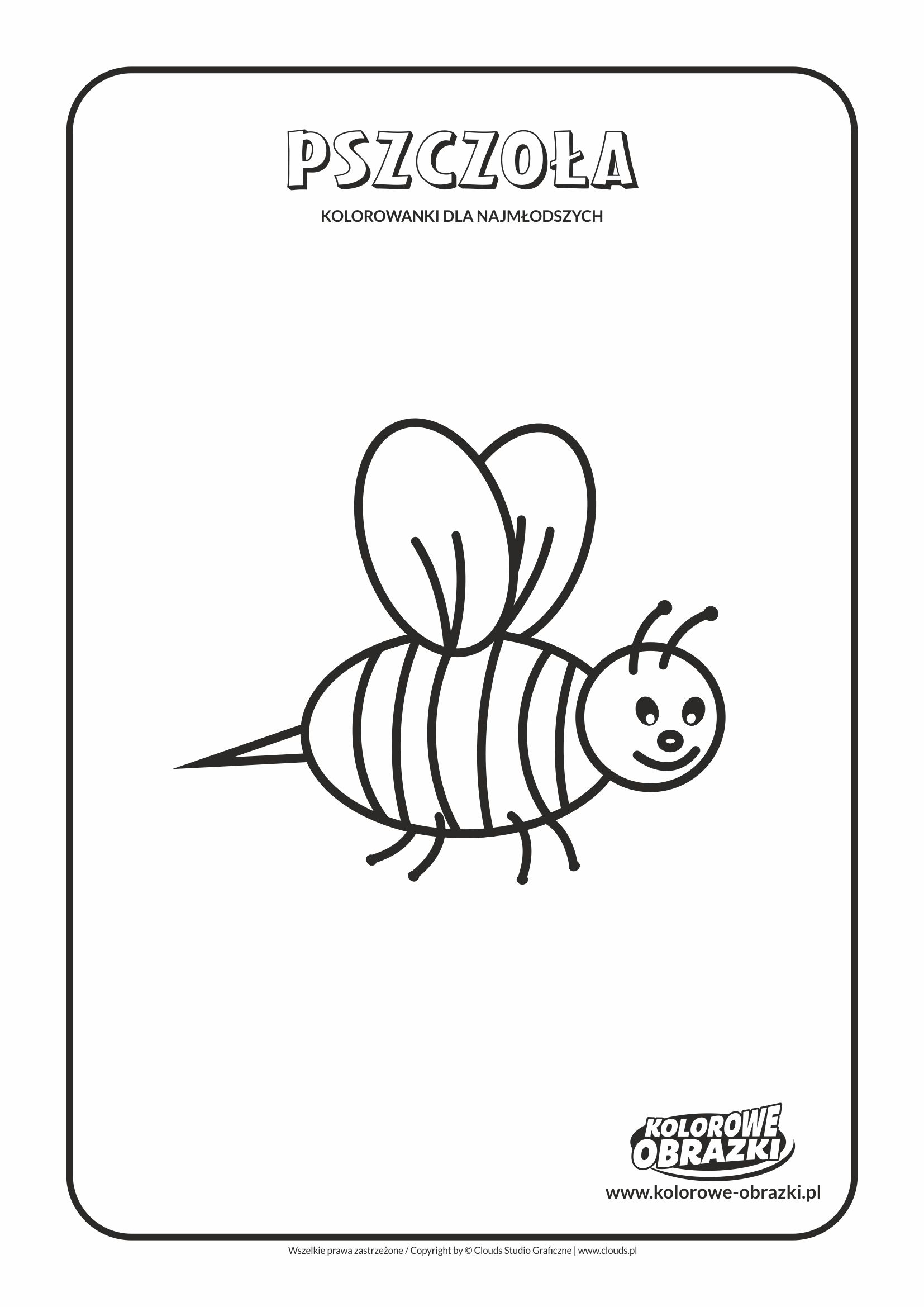 Proste kolorowanki dla najmłodszych - Zwierzęta / Pszczoła. Kolorowanka z pszczołą
