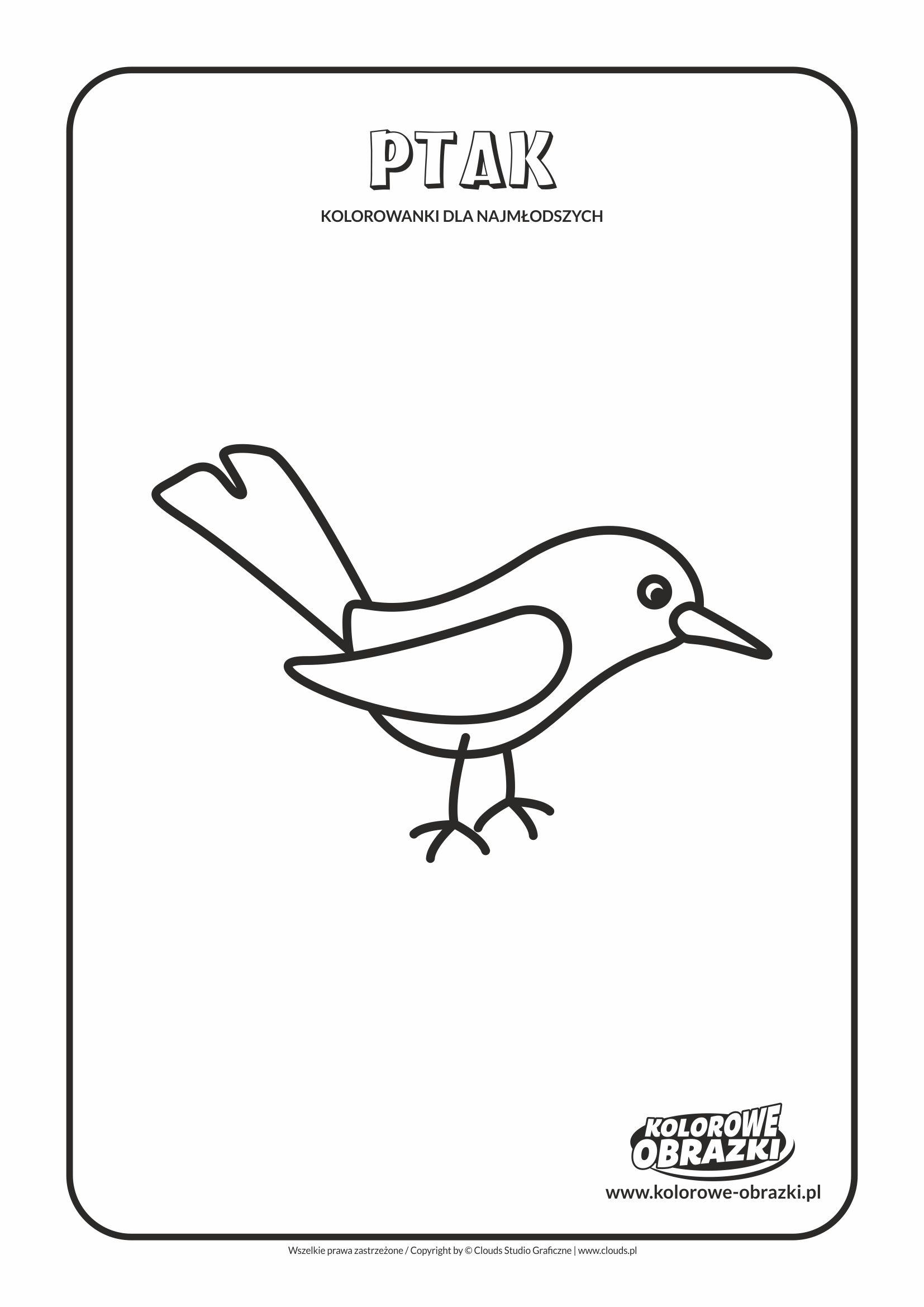 Proste kolorowanki dla najmłodszych - Zwierzęta / Ptak. Kolorowanka z ptakiem