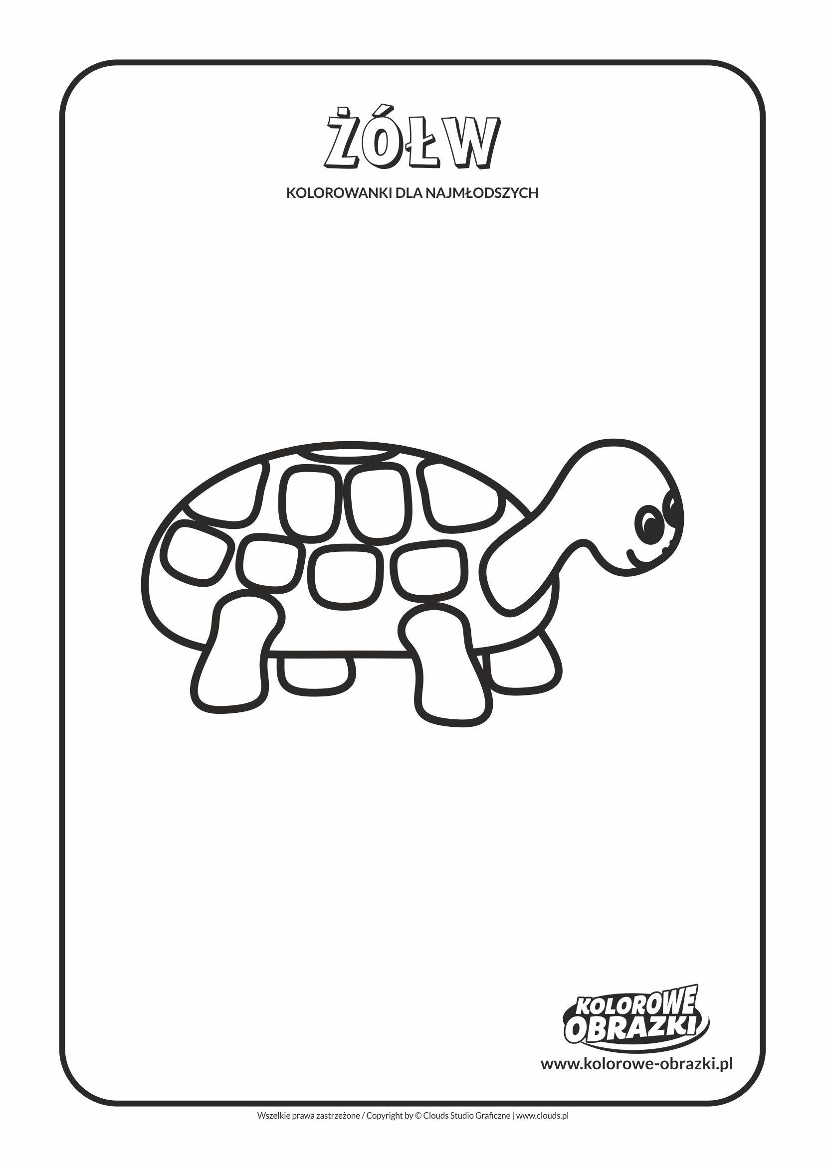 Proste kolorowanki dla najmłodszych - Zwierzęta / Żółw. Kolorowanka z żółwiem