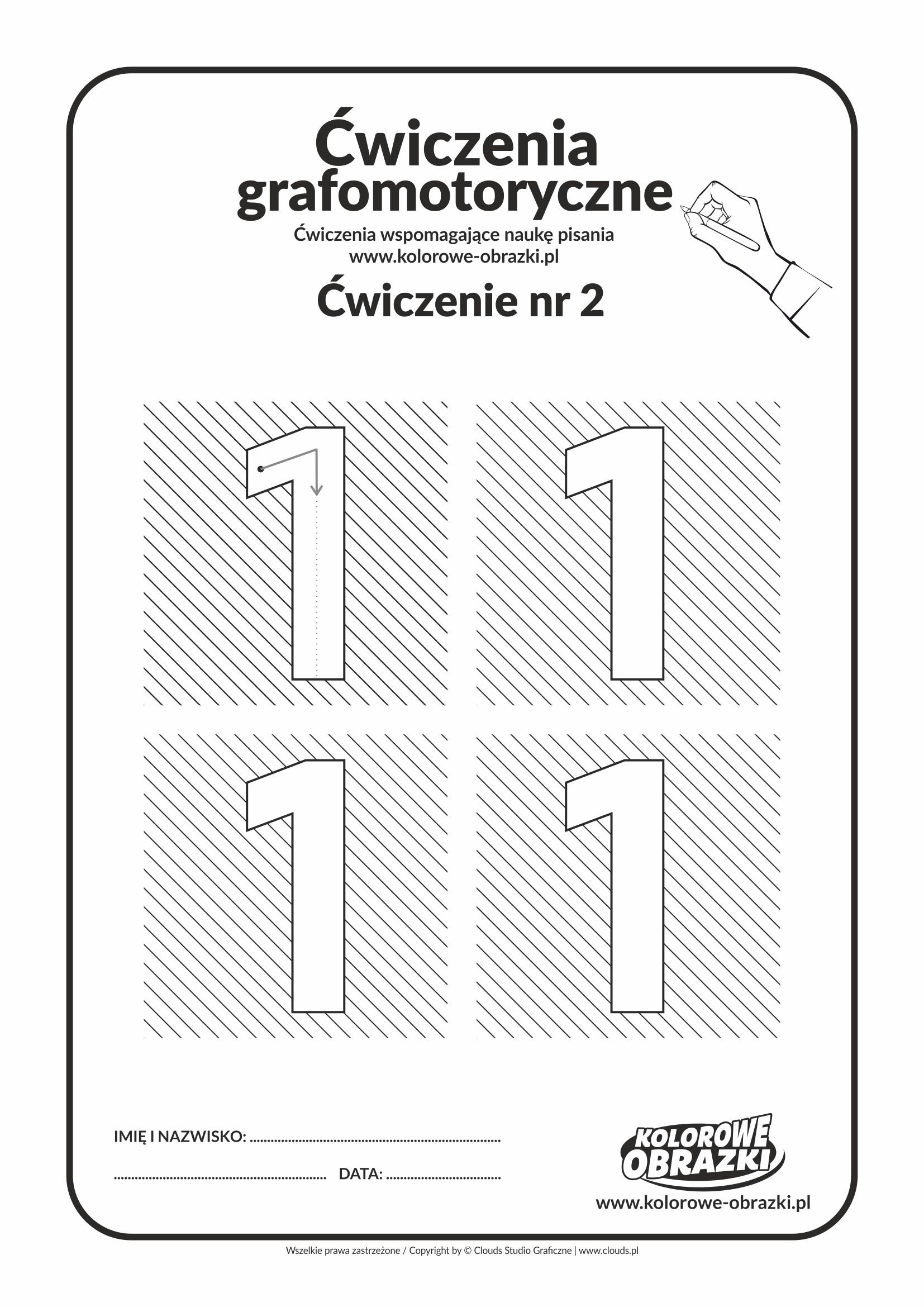 Ćwiczenia grafomotoryczne - cyfra 1