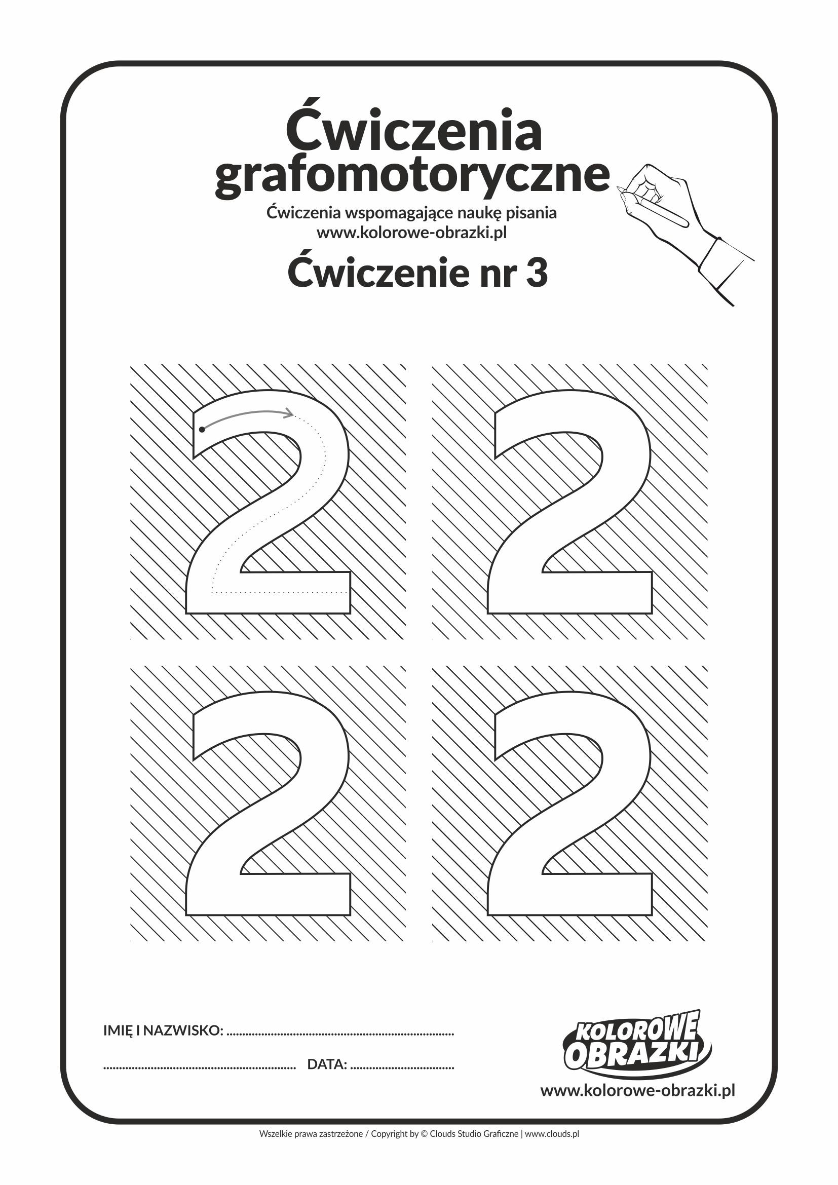 Ćwiczenia grafomotoryczne dla dzieci - Cyfra 2