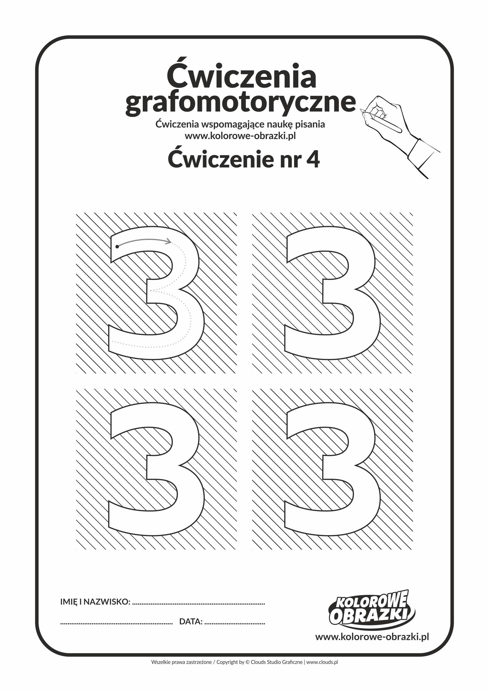 Ćwiczenia grafomotoryczne - cyfra 3