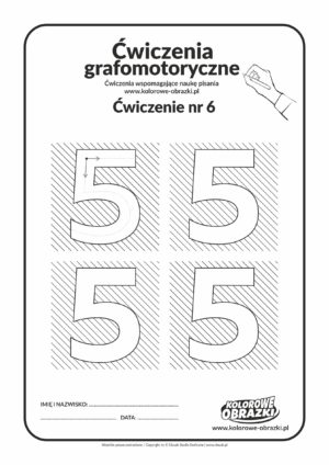 Ćwiczenia grafomotoryczne - cyfra 5