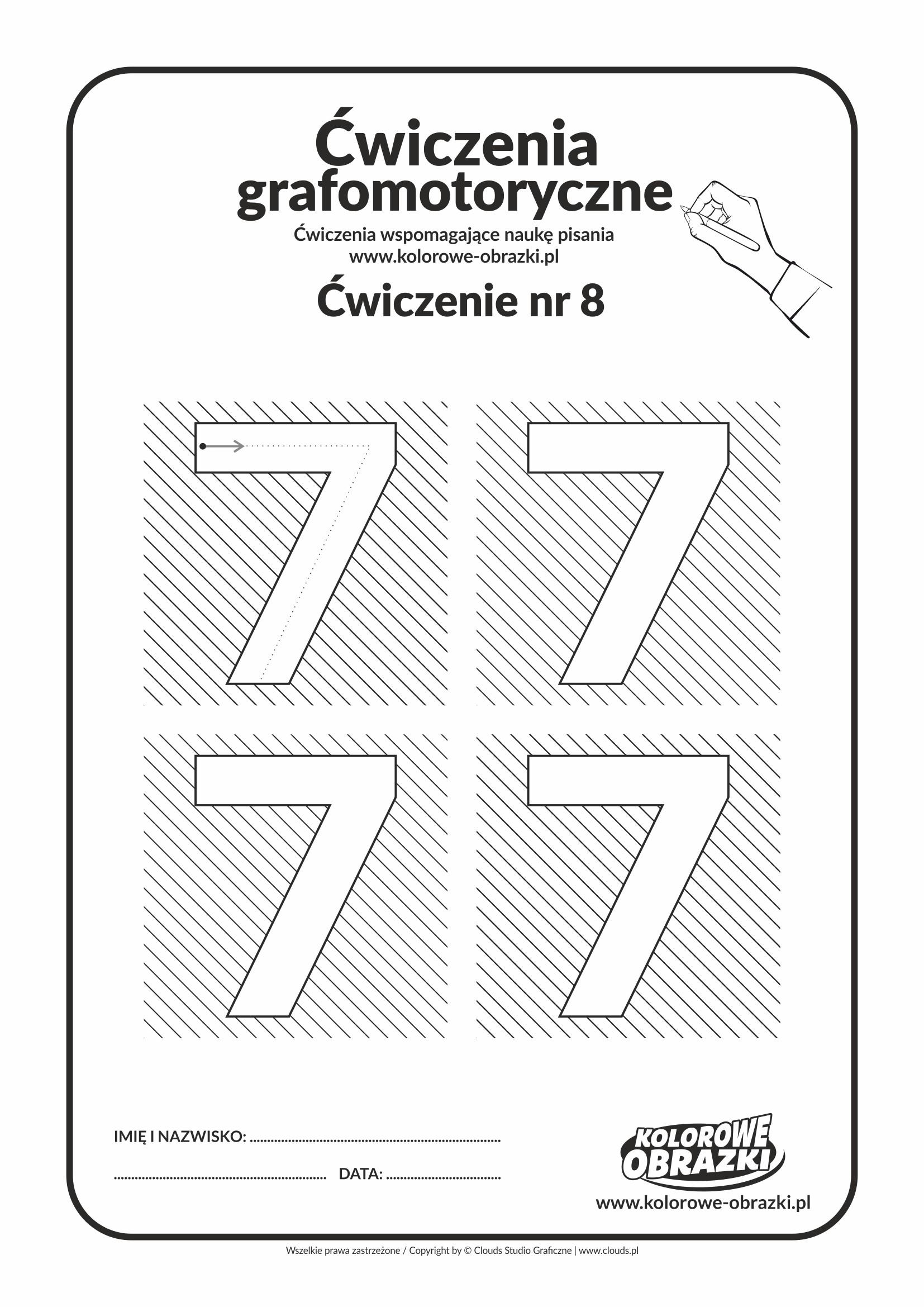 Ćwiczenia grafomotoryczne dla dzieci - Cyfra 7