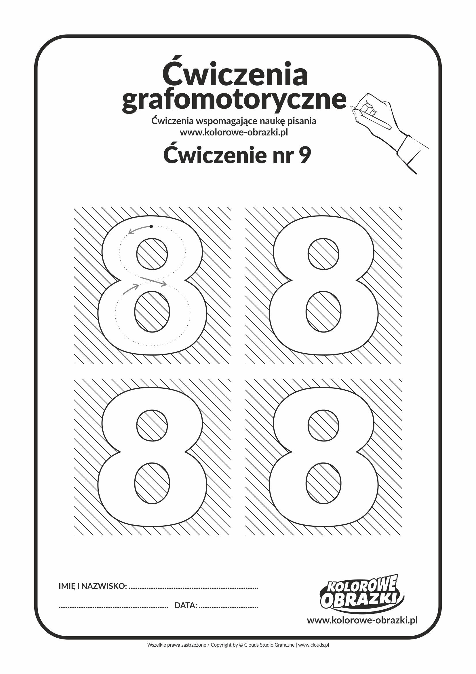 Ćwiczenia grafomotoryczne dla dzieci - Cyfra 8
