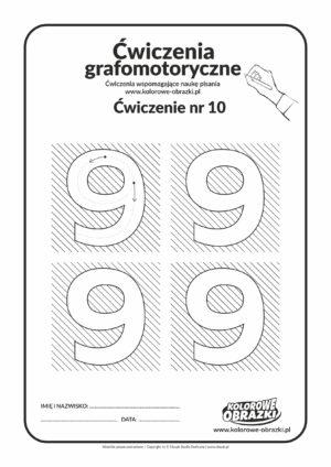 Ćwiczenia grafomotoryczne - cyfra 9