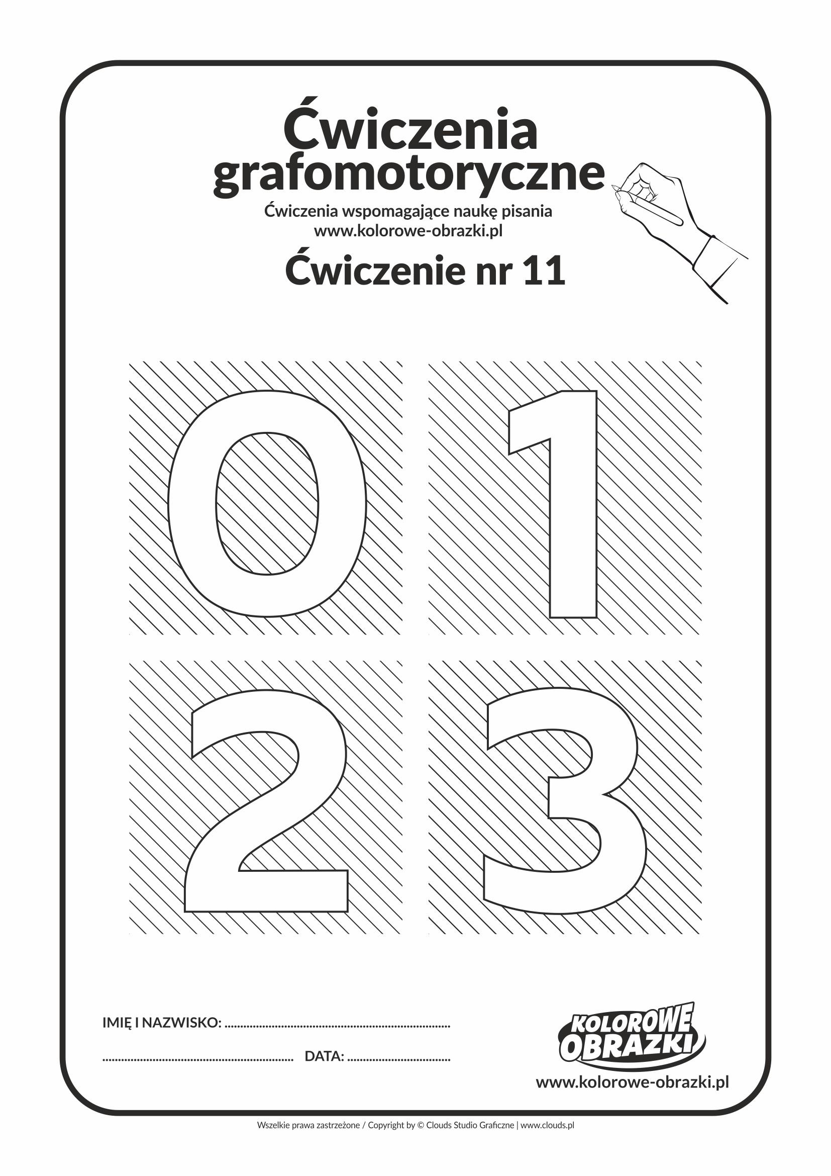 Ćwiczenia grafomotoryczne - cyfry 0, 1, 2, 3