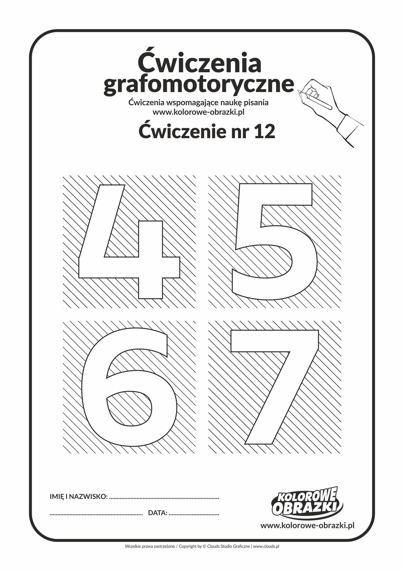 Ćwiczenia grafomotoryczne - cyfry 4, 5, 6, 7