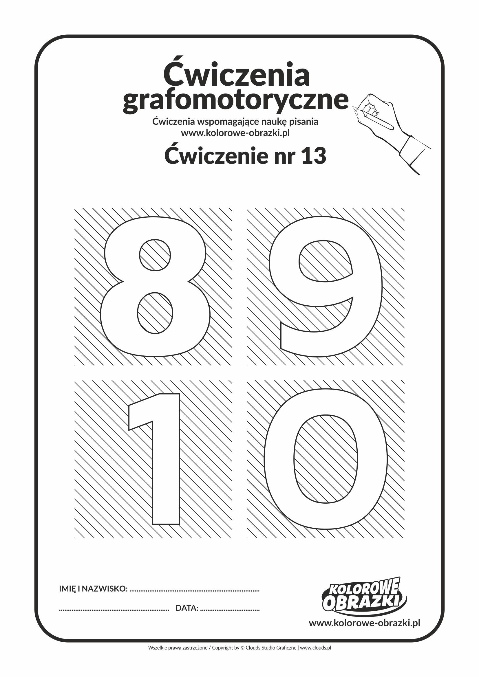Ćwiczenia grafomotoryczne - cyfry 8, 9, 1, 0