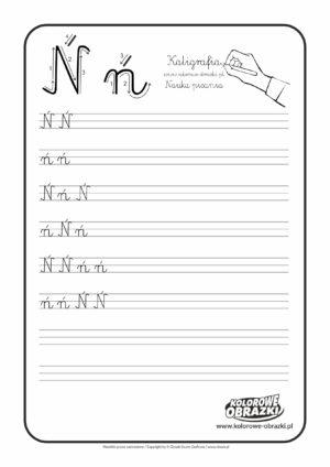 Kaligrafia dla dzieci - Ćwiczenia kaligraficzne / Litera Ń. Nauka pisania litery Ń