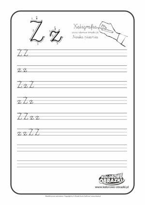 Kaligrafia dla dzieci - Ćwiczenia kaligraficzne / Litera Ż. Nauka pisania litery Ż